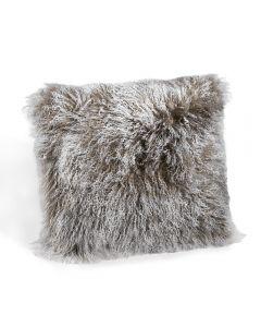 Tibetan Lamb Square Pillow - Grey
