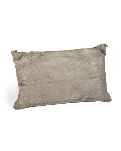 Goat Skin Bolster Pillow - Grey