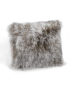Tibetan Lamb Square Pillow - Grey