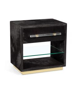 cassian bedside chest black brass