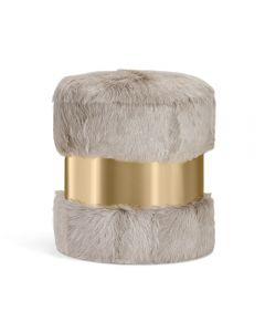Scarlett Stool - Grey Goat/ Brass